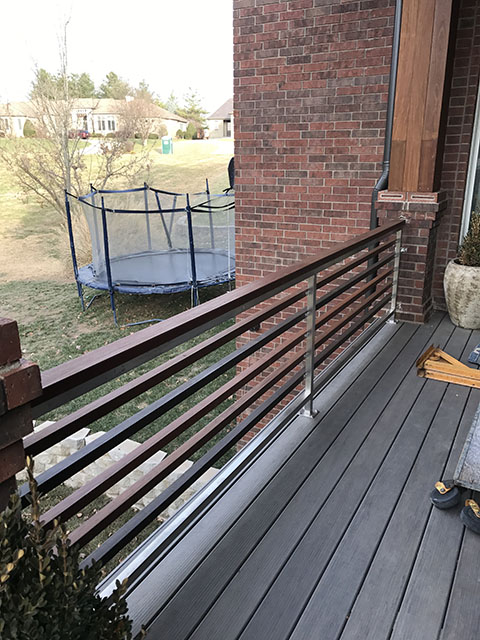STAINLESS AND WOOD GUARD RAIL